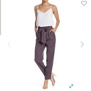 High Waisted Chambray Paperbag Ankle Pants